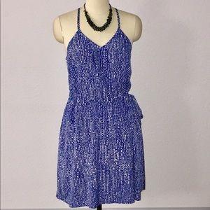 Lucky Brand XL Blue White Dotted Halter Dress